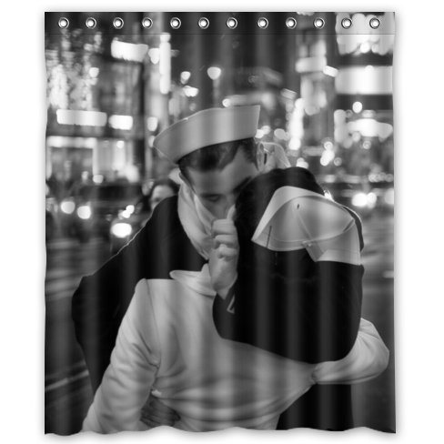 """Custom Romantic Style V-J Day Kiss In Times Square New York Waterproof Polyester Fabric Bathroom Shower Curtain 60"""" X 72"""""""