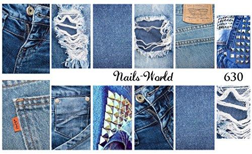 630 Adesivi Decalcomanie Sticker Nail Art NUOVO Motivo Jeans Rivetti