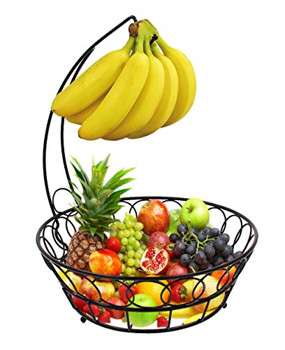 ESYLIFE Fruit Baskets Stand Wire Basket with Banana Hanger, Black (Fruit Bowl With Banana Hanger compare prices)
