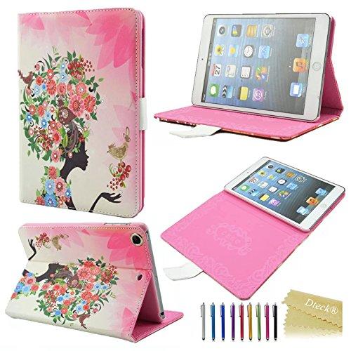 iPad Mini Case, iPad Mini 2/ 3 Retina Case Cover, [2014 Release] Dteck® Fashion Pink Girl Design Bling Diamond Crystal Rhinestone Shinning [Book Style] Colorful Cute Flower Pattern Flip PU Leather Sma