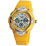 PASNEW High Quality Water-proof 100m Dual Time Unisex Child Outdoor Sport Watch Yellow