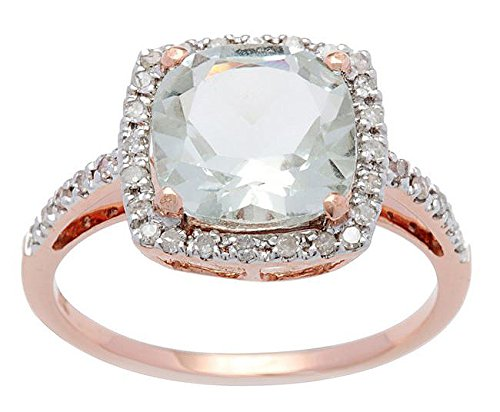 10k Rose Gold Cushion Green Amethyst and Diamond Ring (1/4 TDW)
