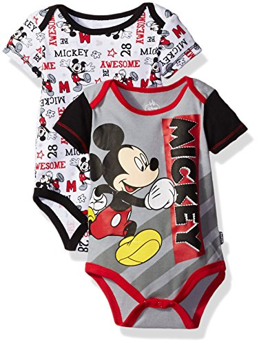 Disney Baby Boys' Mickey Mouse Adorable Soft Two-Pack Bodysuits, Awesome Gray, 0-3 Months