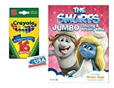 The Smurfs Jumbo Coloring & Activities Book and 16 Crayola Crayons Box (Pack of 2)