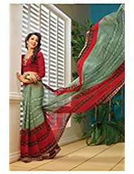 AG Lifestyle Green & Red Faux Georgette Saree With Unstitched Blouse AKS2016
