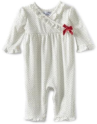 Hartstrings Baby-Girls Newborn Polka Dot Interlock Romper, Black Dot, 0-3 Months