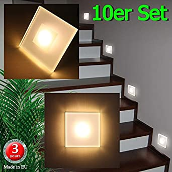 Set of 10 SUN-LED MAX 3W Wall Lights LED Spotlights for stairs, staircase, corridor, WARM WHITE ...