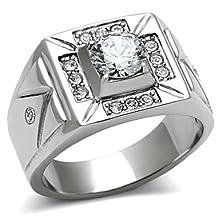buy Men'S 316L Stainless Steel Cubic Zirconia Southwestern Wedding Ring, Size 8