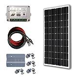 ECO-WORTHY 100W 太陽光発電単結晶ソーラーパネル 15A チャージコントローラー/Z型取付金具/9メートルPV配線/MC4コネクタ付属