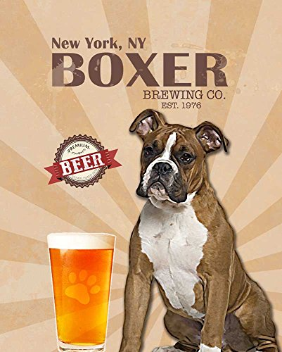 Boxer Brewing Co. Vintage Dog Poster Print 11X14 - Customizable City And State- Please Email Directly After Purchase
