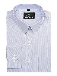 Basil Men's Poly Cotton Formal Shirt (BA380PLC46FSF-40, Sky Blue, 40)