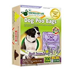 Green N Pack Dog Waste Bone Dispenser Refill Bags in 10 Refill Rolls, Fresh Lavender Scent, Value Pack, 200-Count