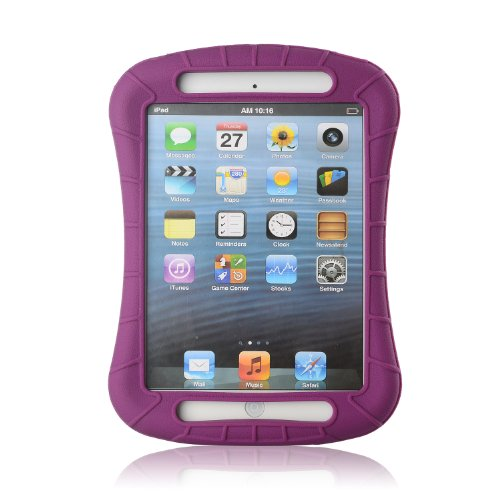 Ixcc ® Shockproof Silicone Case Cover For All Apple Ipad Mini Models, Extreme Heavy Duty [Drop Proof, Kids Proof, Shock Proof, Anti Slip] High Quality Rubber Soft Gel Material Offers Robust Protection For Kids, Baby, Children, Boys And Girls [Purple/Maroo front-205009