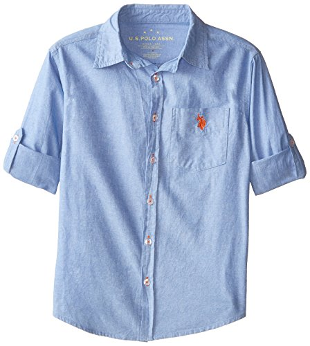 U.S. Polo Assn. Big Boys' Solid Cotton Chambray Shirt, Terry Blue, 18