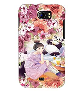 PrintDhaba Cute Girl D-3831 Back Case Cover for MICROMAX A110 CANVAS 2 (Multi-Coloured)