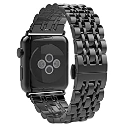 Creazy® Stainless Steel Watch Band Strap Metal Clasp for Apple Watch 38mm (Black)