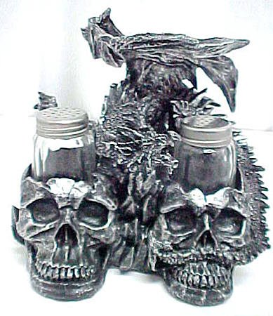 Wicked Dragon and Skulls Salt & Pepper Shakers Scary