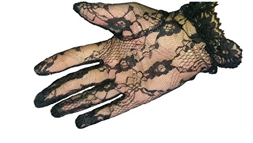 Short Black Lace Lolita Steam Punk Gothic Victorian Flower Gloves (Flower Steams compare prices)