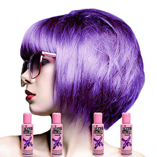 Crazy Color Hot Purple No.62 (100ml) Box of 4 - Semi Permanent Colour Hair Dye by Crazy Color
