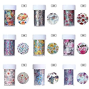 Tempea Metallic retro rainbow chameleon glitter chrome NAIL FOIL TRANSFER psychedelic mirror effect silver nail decals paisley floral rose petal holographic unicorn nail art (4f)