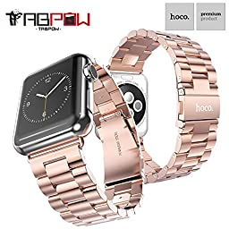 Apple Watch Band, TabPow HOCO [Timeless Band Series] Rose Gold Stainless Steel Strap Classic Adapter Buckle Watch Bands for Apple Watch 38mm [Includes Band Link Removal Tool][Special Edition Rose Gold]