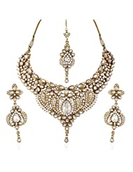 I Jewels Traditional Gold Plated Kundan Necklace Set With Maang Tikka For Women(White)(K7046W)