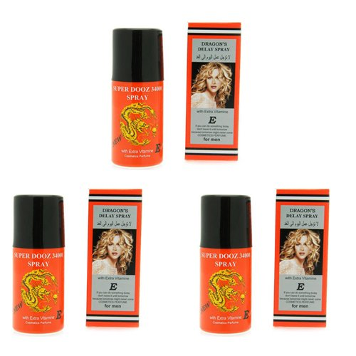 3 x Dragon's 34000 Delay Spray for Men - Last Longer Safe Sex -