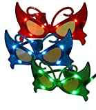 BUTTERFLY RAVE-EYES(TM) Costume Mask-Party Favor LED 3 PAIRS Flashing Glasses-RED BLUE GREEN -Blinking