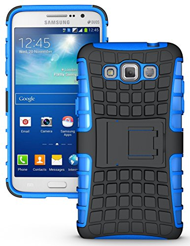 NAKEDCELLPHONE'S BLUE GRENADE GRIP RUGGED TPU SKIN HARD CASE COVER STAND FOR SAMSUNG GALAXY GRAND MAX PHONE (SM-G7200