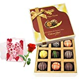 Valentine Chocholik's Luxury Chocolates - Luscious Collection Of Truffles With Love Card And Rose