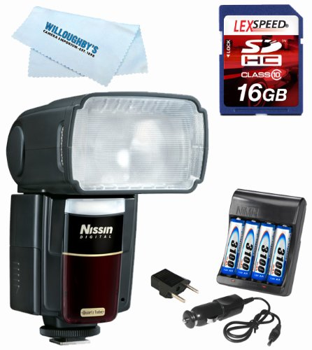 Nissin MG8000 Extreme Speedlight for Nikon iTTL + 4 AA Batteries W/ Charger + 16GB