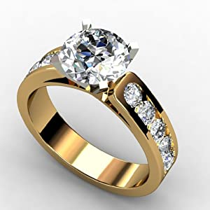 1.45 CT DIAMOND PROMISE SOLITIARE ENGAGEMENT RINGS 14k YELLOW GOLD - Design: Amzpr-02593 (RING SIZE: 7.5)