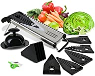 Mandoline Slicer with Blade Guard, Premium Stainless Steel Fruit and Vegetable Cutter, Peeler and…