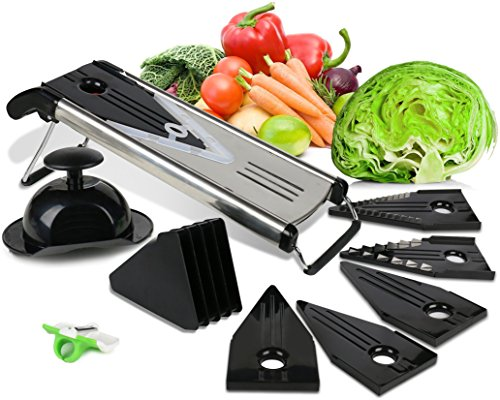 Mandoline Slicer with Blade Guard, Premium Stainless Steel Fruit and Vegetable Cutter, Peeler and Julienne Slicing Bundle with Finger Peeler