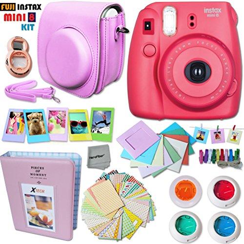 FujiFilm Instax Mini 8 Camera RASPBERRY + Accessories KIT for Fujifilm Instax...