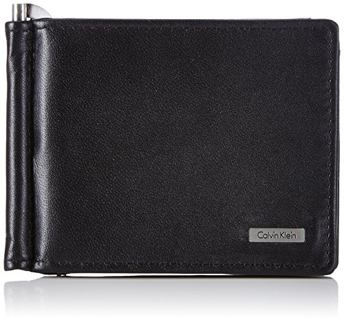 Calvin Klein Rail Money Clip 8 Cc + Coin Portamonete, 75 Cm, Nero