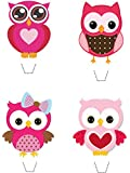Novelty Pink Owl Mix 12 Edible Stand up wafer paper cake toppers (5 - 10 BUSINESS DAYS DELIVERY FROM UK)