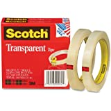 Scotch Transparent Tape, 0.5 x 2592 Inches, 2 Pack (600-2P12-72)