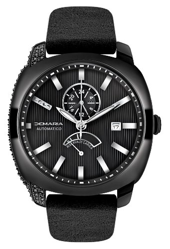 Demaria Men's WPRBL100-1 Black Ion-Plated 1.00c Black Diamond Accented Power Reserve Watch