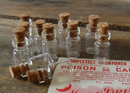 Marrywindix 50 Pcs 1ml-extra Small- Miniature Glass Bottle with Cork Top No4- 18x10mm