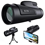 12x50 Monocular Telescope for Adults, AUCEE HD High Power Bak4 Prism FMC Monocular Compact Waterproof Monocular with Smartphone Adapter Tripod for Bir