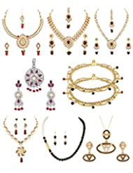Voylla Combo Of Assorted Necklace Sets, Pendant Sets And Anklets