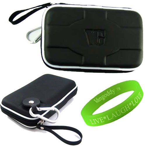 Rubberized Stealth Black Computer Accessories Stylish Hard Cube Carrying Case WD Elements Portable Hard Drive Protective Cover + VanGoddy LIVE * LAUGH * LOVE Wristband