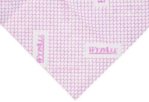WypAll 13068 X80 Panni di Pulizia Hydroknit Piegati in Quattro, Rosso, 10 x 25 panni a 1 velo