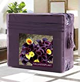 #1 Best Seller Luxury Pillowcases on Amazon! - HIGHEST QUALITY Elegant Comfort� Wrinkle-Free 1500 Thread Count Egyptian Quality 2-Pieces PillowCases, Standard Size - Calla-Eggplant