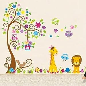 Jungle Zoo Búho en árbol con la jirafa y el león entre los niños para los niños  Bebé más noticias y comentarios