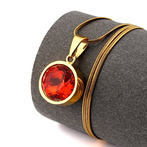 NYUK Mens Round Gemstone 18K Gold Pendant Hip Hop Necklace(Red) (How To Open An Italian Restaurant compare prices)