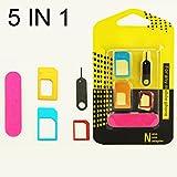 5 in 1 金属 ナノSIMカードアダプター+レギュラー&マイクロシム+標準SIMカード&ツール for Iphone Android 携帯電話 (5 in 1 Metal Sim Card Adapter)