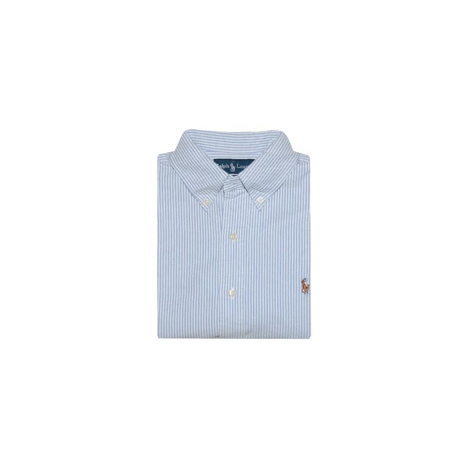 Ralph Lauren Men Short Sleeve Logo Oxford Shirt (XL, White/blue)