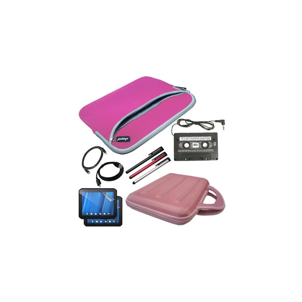 Skque Premium Anti glare Screen Protector(2 PACKS) + Pink EVA Carrying Bag + Dual Pocket Case Pink + 3.5mm Extension Cable 12feet + Sync USB Data Cable + 3 PACKS of Stylus Pen + Car Audio Cassette Adapter for HP Touchpad 9.7 Tablets